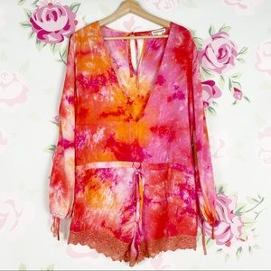 Cotton Candy Pink Orange Tie Dye Romper S